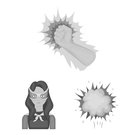 A fantastic superhero monochrome icons in set collection for design. Superheros equipment bitmap symbol stock web illustration. Stock Illustration - 106811421