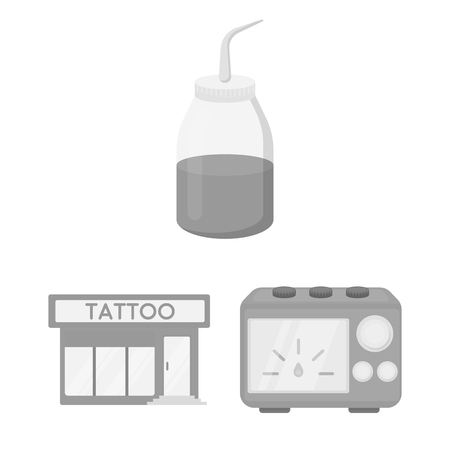 Tattoo, drawing on the body monochrome icons in set collection for design. Tattoo salon and equipment bitmap symbol stock web illustration.