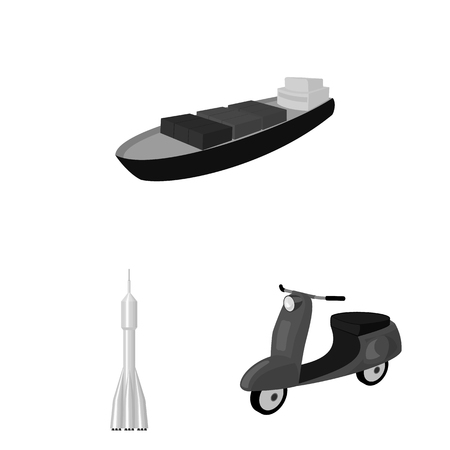 Different types of transport monochrome icons in set collection for design. Car and ship bitmap symbol stock web illustration. 版權商用圖片