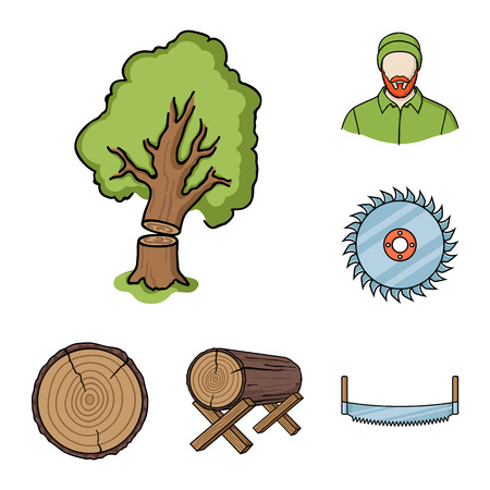 Sawmill and Timber cartoon icons in set collection for design. Hardware and Tools bitmap symbol stock web illustration.