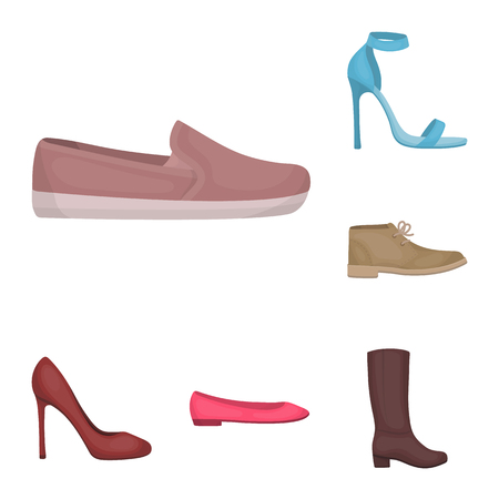 A variety of shoes cartoon icons in set collection for design. Boot, sneakers bitmap symbol stock web illustration.