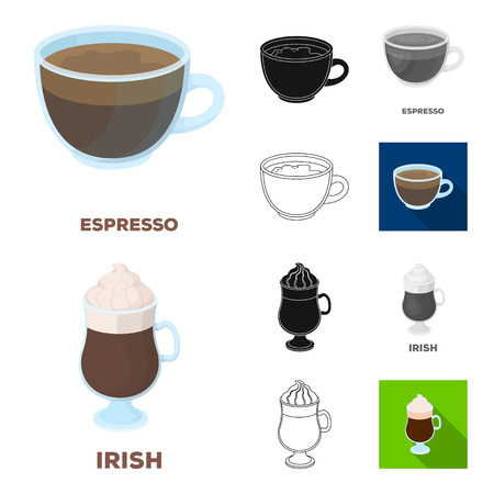Different kinds of coffee cartoon,black,flat,monochrome,outline icons in set collection for design. Coffee drink bitmap symbol stock web illustration.