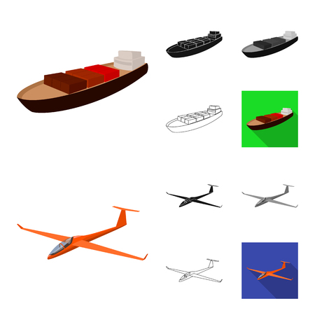 Different types of transport cartoon,black,flat,monochrome,outline icons in set collection for design. Car and ship bitmap symbol stock web illustration. Stock Photo