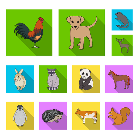 Realistic animals flat icons in set collection for design. Wild and domestic animals bitmap symbol stock web illustration.