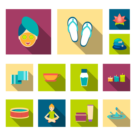 Spa salon and equipment flat icons in set collection for design. Relaxation and rest bitmap symbol stock web illustration.