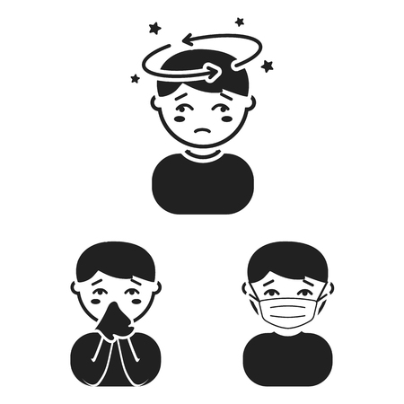 The sick man black icons in set collection for design.Illness and treatment vector symbol stock web illustration.