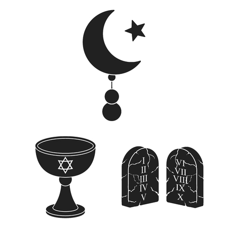 Religion and belief black icons in set collection for design. Accessories, prayer vector symbol stock web illustration.