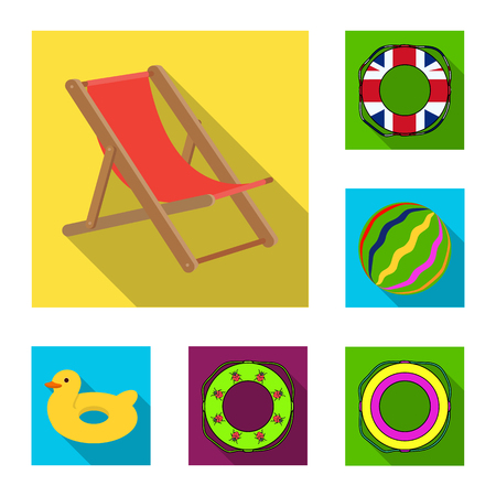 Multicolored swimming circle flat icons in set collection for design. Different lifebuoysvector symbol stock web illustration.