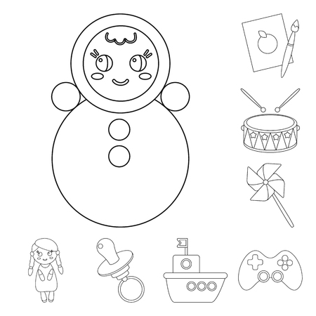 Children toy outline icons in set collection for design. Game and bauble vector symbol stock web illustration.