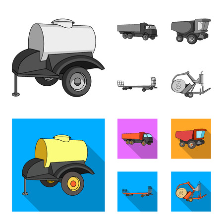 Trailer with a barrel, truck and other agricultural devices. Agricultural machinery set collection icons in monochrome,flat style vector symbol stock illustration web.