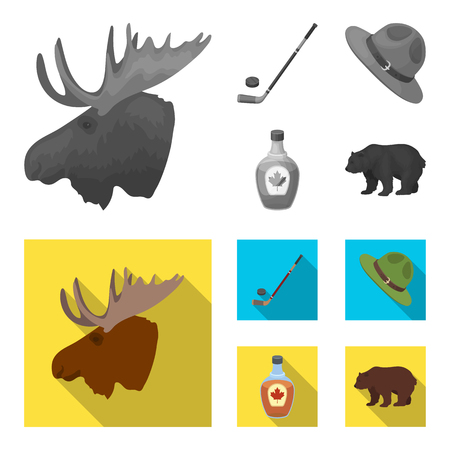 A canadian policeman hat, a bottle of maple syrup and other Canadian symbols.Canada set collection icons in monochrome,flat style vector symbol stock illustration web.