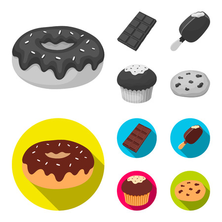 Donut with chocolate, zskimo, shokolpada tile, biscuit.Chocolate desserts set collection icons in monochrome,flat style vector symbol stock illustration web.