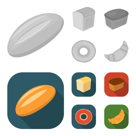 Loaf cut, bagel, rectangular dark, half a loaf. Bread set collection icons in monochrome,flat style vector symbol stock illustration web.