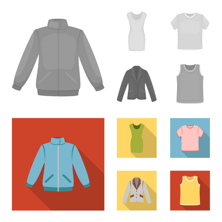 A mans jacket, a tunic, a T-shirt, a business suit. Clothes set collection icons in monochrome,flat style vector symbol stock illustration web.
