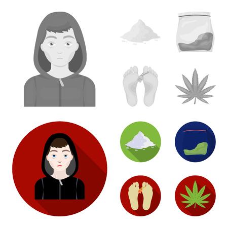 Addict, cocaine, marijuana, corpse.Drug set collection icons in monochrome,flat style vector symbol stock illustration web. Illustration