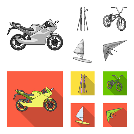 Motorcycle, mountain skiing, biking, surfing with a sail.Extreme sport set collection icons in monochrome,flat style vector symbol stock illustration web.