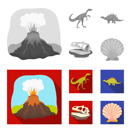 Volcanic eruption, gallimimus, stegosaurus,dinosaur skull. Dinosaur and prehistoric period set collection icons in monochrome,flat style vector symbol stock illustration web. 矢量图像