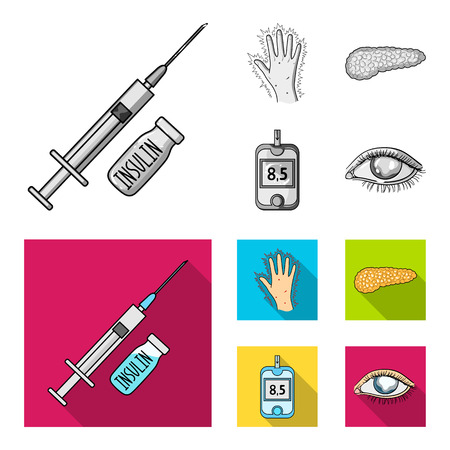 Syringe with insulin, pancreas, glucometer, hand diabetic. Diabet set collection icons in monochrome,flat style vector symbol stock illustration web.