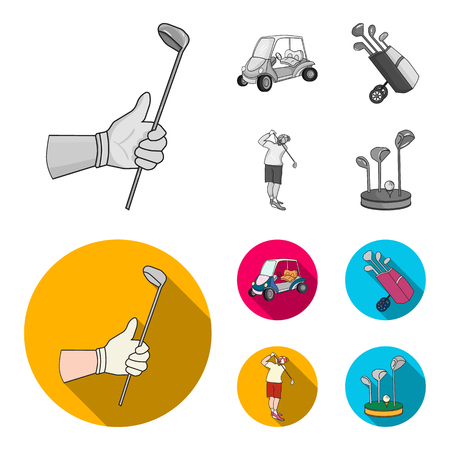 A gloved hand with a stick, a golf cart, a trolley bag with sticks in a bag, a man hammering with a stick. Golf Club set collection icons in monochrome,flat style vector symbol stock illustration web.