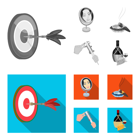 Game Darts, reflection and other web icon in monochrome,flat style. Cigar , calipers icons in set collection.