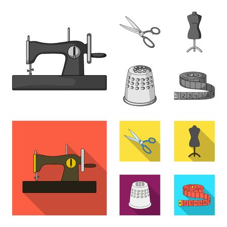Macchina da cucire manuale, forbici, manichino, ditale. Strumenti di cucito o sartoria impostati icone dell'accumulazione in bianco e nero, piatto stile vettoriale simbolo illustrazione stock web.