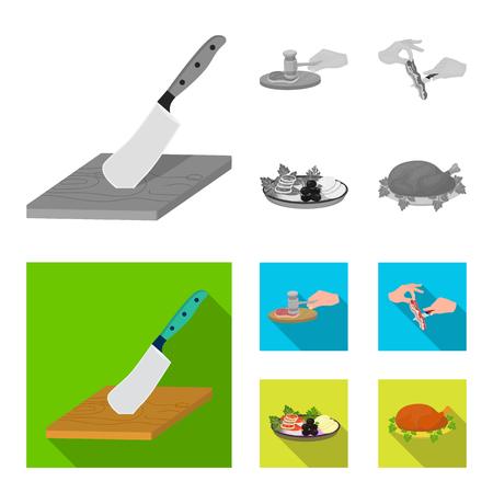 Cutlass on a cutting board, hammer for chops, cooking bacon, eating fish and vegetables. Eating and cooking set collection icons in monochrome,flat style vector symbol stock illustration web.