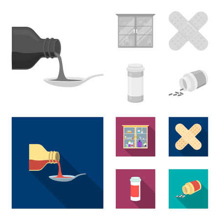 Syrup in a spoon, plaster, honey, medical cabinet.Medicine set collection icons in monochrome,flat style vector symbol stock illustration web.