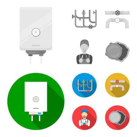 Boiler, plumber, ventils and pipes.Plumbing set collection icons in monochrome,flat style vector symbol stock illustration web. Illustration