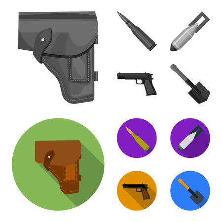 Holster, cartridge, air bomb, pistol. Military and army set collection icons in monochrome,flat style vector symbol stock illustration web.