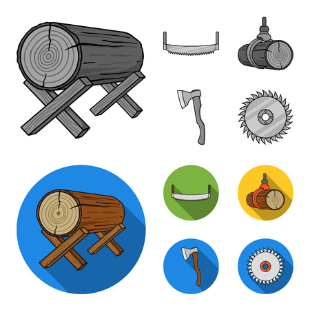 Log on supports, two-hand saw, ax, raising logs. Sawmill and timber set collection icons in monochrome,flat style vector symbol stock illustration web.