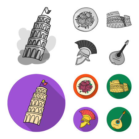 Pisa tower, pasta, coliseum, Legionnaire helmet.Italy country set collection icons in monochrome,flat style vector symbol stock illustration web.
