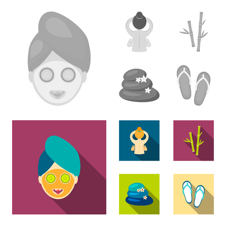 Face with a cosmetic mask with cucumbers, massage hands, bamboo, stones with lotus flowers. Spa set collection icons in monochrome,flat style vector symbol stock illustration web.