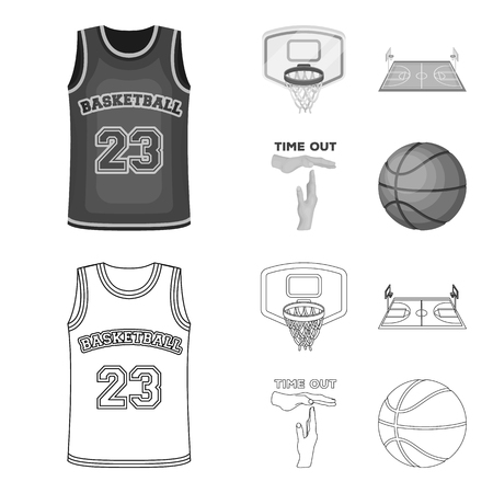 Basketball and attributes outline,monochrome icons in set collection for design.Basketball player and equipment vector symbol stock web illustration. 일러스트