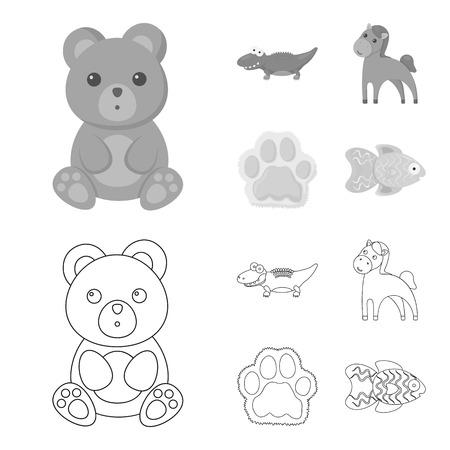 An unrealistic outline,monochrome animal icons in set collection for design. Toy animals vector symbol stock web illustration.