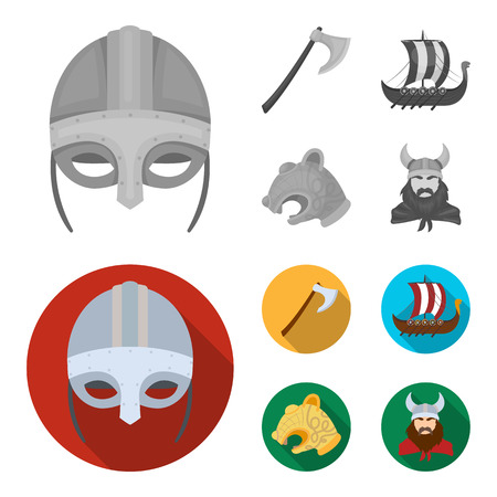 Viking helmet, battle ax, rook on oars with shields, dragon, treasure. Vikings set collection icons in monochrome,flat style vector symbol stock illustration web.