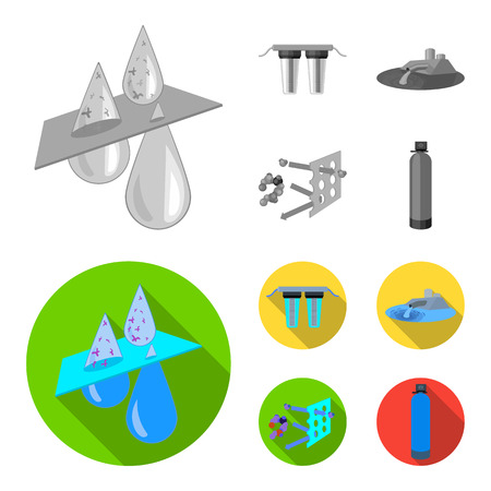 Filter, filtration, nature, eco, bio .Water filtration system set collection icons in monochrome,flat style vector symbol stock illustration web.