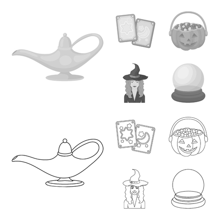 Tarot cards, holiday halloween, magician in a hat, crystal ball. Black and white magic set collection icons in outline,monochrome style vector symbol stock illustration web.