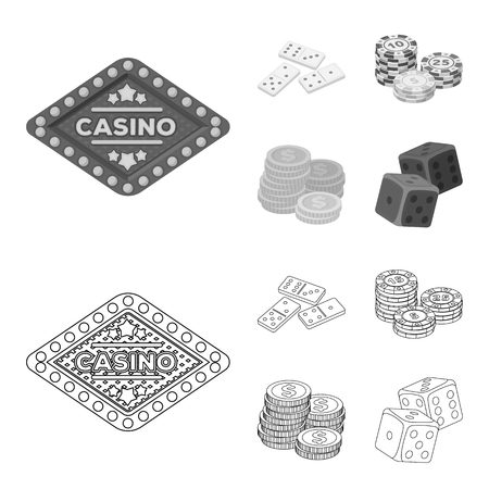 Domino bones, stack of chips, a pile of mont, playing blocks. Casino and gambling set collection icons in outline,monochrome style vector symbol stock illustration web.