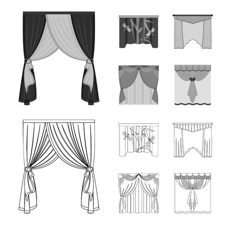 Embroidery, textiles, furniture and other web icon in outline,monochrome style.Curtains, stick, cornices, icons in set collection. Vectores
