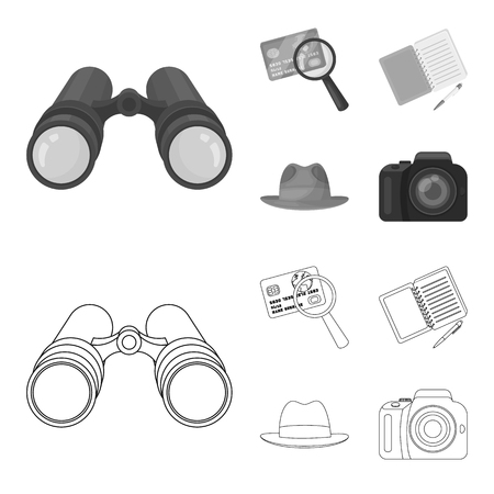 Camera, magnifier, hat, notebook with pen.Detective set collection icons in outline,monochrome style vector symbol stock illustration web.