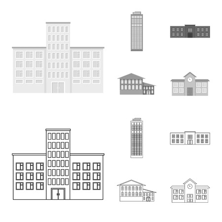 Skyscraper, police, hotel, school.Building set collection icons in outline,monochrome style vector symbol stock illustration web. Standard-Bild - 106855109