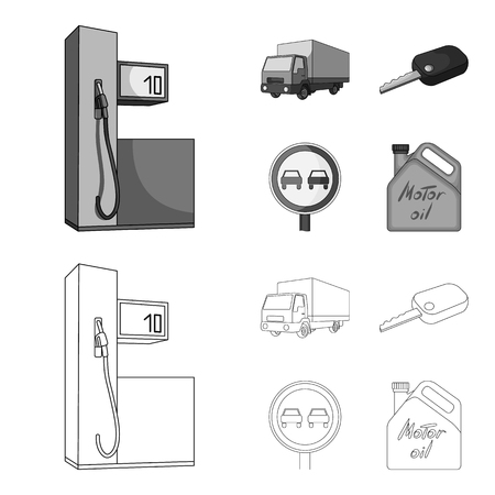 Truck with awning, ignition key, prohibitory sign, engine oil in canister, Vehicle set collection icons in outline,monochrome style vector symbol stock illustration web. Archivio Fotografico - 106855112