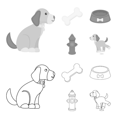 A bone, a fire hydrant, a bowl of food, a pissing dog.Dog set collection icons in outline,monochrome style vector symbol stock illustration web.