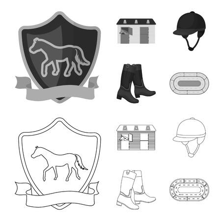 Boots, grass, stadium, track, rest .Hippodrome and horse set collection icons in outline,monochrome style vector symbol stock illustration web. Ilustração