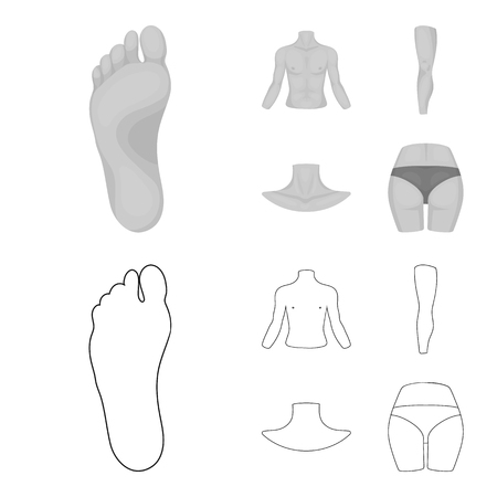 Torso, leg, neck and buttocks. Body parts set collection icons in outline,monochrome style vector symbol stock illustration web.