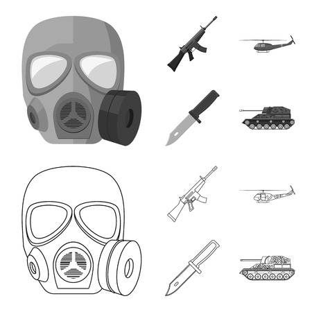 Assault rifle M16, helicopter, tank, combat knife. Military and army set collection icons in outline,monochrome style vector symbol stock illustration web.