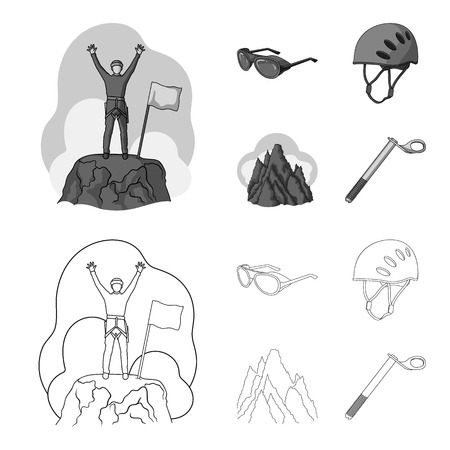 Helmet, goggles, wedge safety, peaks in the clouds.Mountaineering set collection icons in outline,monochrome style vector symbol stock illustration web.