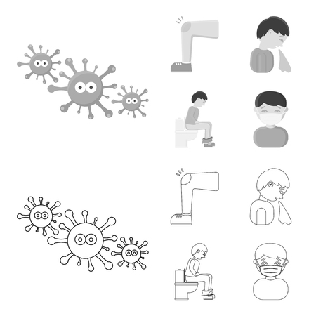 A foot with a bruise in the knee, sneezing sick, a man sitting on the toilet, a man in a medical mask. Sick set collection icons in outline,monochrome style vector symbol stock illustration web.