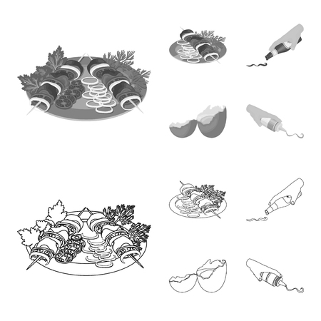Shish kebab with vegetables, ketchup and mustard, seasoning for food, broken egg. Food and Cooking set collection icons in outline,monochrome style vector symbol stock illustration web.
