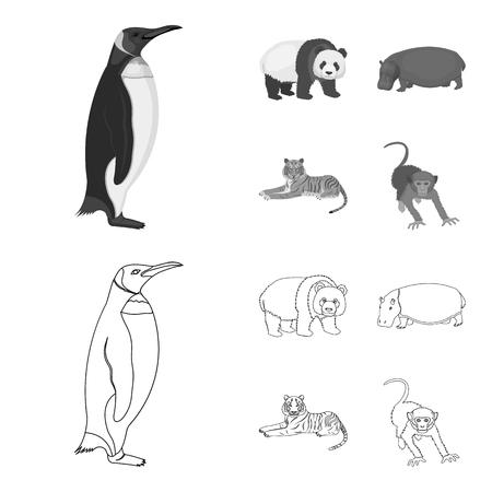 Bamboo bear, hippopotamus, wild animal tiger, monkey . Wild animal set collection icons in outline,monochrome style vector symbol stock illustration web.